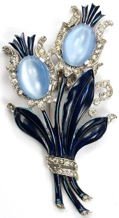 Trifari 'Alfred Philippe' Blue Moonstone and Blue Enamel Floral Pin Clip