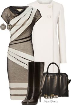 """""""stripe lace dress"""" by madamedeveria ❤ liked on Polyvore"""
