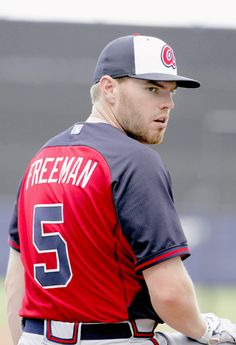 Braves first baseman Freddie Freeman at spring training, United States, 2015, photograph by Atlanta Braves (photographer unattributed).