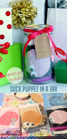 Homemade DIY Gifts in A Jar | Best Mason Jar Cookie Mixes and Recipes, Alcohol Mixers | Fun Gift Ideas for Men, Women, Teens, Kids, Teacher, Mom. Christmas, Holiday, Birthday and Easy Last Minute Gifts | Homemade Sock Puppet in a Jar Gift for Kids |  http://diyjoy.com/diy-gifts-in-a-jar