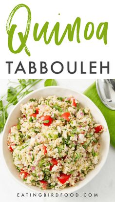 fresh, healthy and incredibly easy quinoa tabbouleh recipe. Bulgur wheat is replaced with quinoa so the salad is naturally gluten-free and packed with protein. Bulgur Recipes, Tabbouleh Recipe, Quinoa Tabbouleh, Quinoa Salad, Gluten Free Recipes, Keto Recipes, Vegetarian Recipes, Healthy Recipes, Healthy Meals
