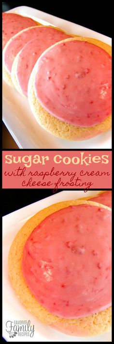 Sugar Cookies with Raspberry and Cream Cheese Frosting is soft and chewy like regular sugar cookies but with a creamy raspberry kick! via @favfamilyrecipz