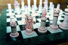 I intered this Chess Set in a Crafts competition at the Puyallup Wa. Fair in 1989 and won: best in category, 1st in Division, and Grand Champion, and $100.00 prize money ! Being that this Fair is in the top 10 fairs in North America and draws a million and a half people every year, I felt pretty good about it !