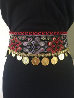 Black belt with Palestinian Embroidery / Cross Stitch and gold