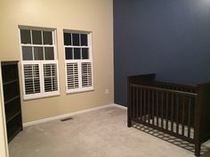 Walls painted with crib and bookcase in place!