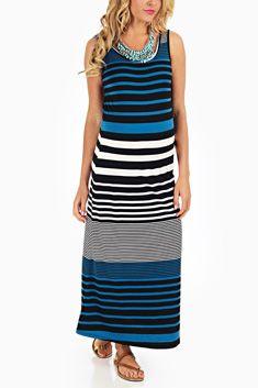 Pink Blush Maternity- pin to win Blue Black White Striped Colorblock Maternity Maxi Dress