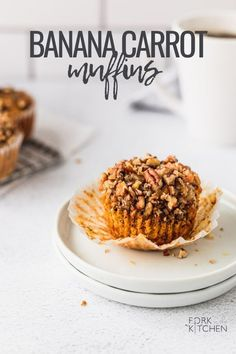 A cross between banana bread and carrot cake, these muffins are easy to make, full of flavor, light, and moist! Make them for a lazy weekend breakfast or meal-prep for the week! | Fork in the Kitchen #recipe #muffins #easy #banana #carrot #breakfast