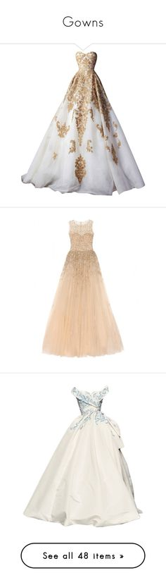 """Gowns"" by crystalbeats ❤ liked on Polyvore featuring dresses, gowns, the dresses, long dresses, vestidos, tulle evening dress, beige dress, silk gown, long embellished dress and embelished dress"
