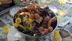 low country boil             This is how we do it, Southern style. <3     5 lbs. crab legs  4 lbs. shrimp  2 lbs. mussells  5 lbs. potatoes  12 ears of corn [halved]  onions  garlic  lemons     Mmmmmmmmm!