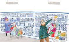 Mirella Mariani Illustration - mirella, mariani, mirella mariani, photoshop, hand drawn, crayon , educational, commercial, picture books, people, child, person, man, grandad, grandpa, boy, supermarket, lady, food, trolley, YA, young reader, woman
