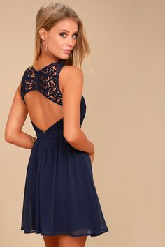 904f76ef2c The Romantic Tale Navy Blue Lace Skater Dress makes fairy tales come true! Skater  dress
