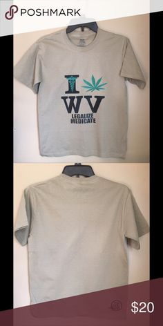 NEW SUPPORT MM WV TSHIRT New Men's size Large.  Bull Shirts Logo on the back. Medical marijuana still isn't available in WV. I have a 12 year old non verbal son who has had daily seizures since birth. It has been PROVEN that MM can help control seizures in children with the same Lennox Gastaut Syndrome as my son. So that's the story of why this shirt was made. If you have a story about seizures or MM please feel free to share. Shirts Tees - Short Sleeve