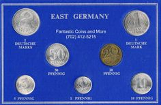 1957 - 1969 East Germany Seven (7) Uncirculated Coin Mint Set http://www.ebay.com/itm/1957-1969-East-Germany-Seven-7-Uncirculated-Coin-Mint-Set-/171529562931?ssPageName=STRK:MESE:IT