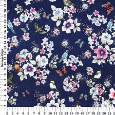"Bird Swiss Dotted Navy Cotton Fabric $9 43"" cotton"