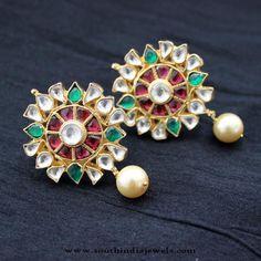 Kundan Earrings Designs, Kundan Ear stud Designs, Imitation Kundan Earrings.