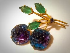 Vintage Austria Frosted Double Glass Raspberry Brooch/Pin Gold Tone - Fruit Pin