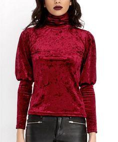 This Burgundy Velvet Puff-Sleeve Turtleneck is perfect! #zulilyfinds