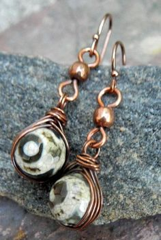 Herringbone Drops Agate and Copper by ThePurpleLilyDesigns on Etsy, $13.50
