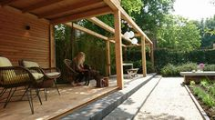 Livinlodge carpentier black oak tuinhuis overdekt zitten