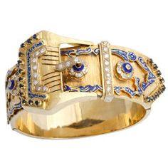 Antique Victorian Diamond & Enamel Bangle Bracelet