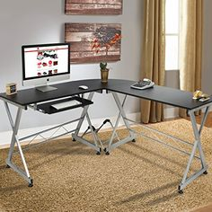 awesome Best Choice Products Wood L-Shape Corner Computer Desk PC Laptop Table Workstation Home Office Black