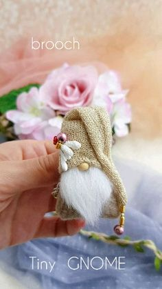 Brooch GOLD hat gnome Amulet for good luck Miniature decor Gnome little doll girls jewelry Burlap Christmas Decorations, Xmas Ornaments, Fall Crafts, Holiday Crafts, Diy Crafts, Christmas Gnome, Little Doll, Hanging Plants, Craft Gifts