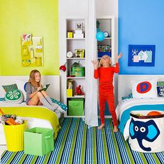 Kids Rooms: Shared Bedroom Solutions The sliding doors could really work to seperate one huge area for the four kids Boy And Girl Shared Room, Boy Girl Bedroom, Boy Room, Childs Bedroom, Child Room, Shared Bedrooms, Kid Bedrooms, Yellow Bedrooms, Kid Spaces
