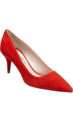 Prada Basic Pointed Toe Pump with Short Heel