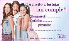 Violeta (con Francesca y Camila) - Tarjetas de cumpleaños para imprimir - Fiestas infantiles