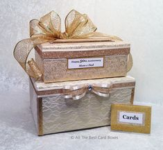 Anniversary Card Box Gold Wedding Card Holder 2 stacked boxes with Tiers fabric lace Handmade 50th Anniversary Centerpieces, 50th Anniversary Invitations, 50th Anniversary Gifts, Gold Wedding Invitations, Wedding Centerpieces, Decor Wedding, Wedding Table, Wedding Ideas, Wedding Inspiration