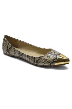 Natalie Gold Tip Flats - Snake - $39.00 | Daily Chic Shoes | International Shipping