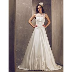 A-line Jewel Court Train Satin And Tulle Wedding Dress (632818) – EUR € 146.02 this could be my dress #3 :-)