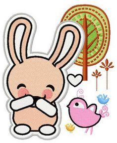 Bunny laughs 2 machine embroidery design. Machine embroidery design. www.embroideres.com