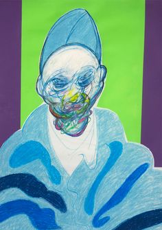 Untitled, (blue pope) (detail)  pastel and coloured paper collage. Francis Bacon