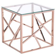 Modern Tempered Glass and Polished Stainless Steel Square Side Table - Rose Gold - ZM Home : Target Rose Gold Rooms, Rose Gold Decor, Home Furniture, Modern Furniture, Table Furniture, Pink Furniture, Classic Furniture, Furniture Outlet, Furniture Stores