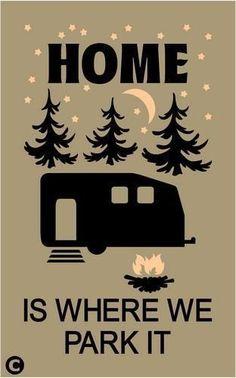 Primitive STENCIL. HOME IS WHERE WE PARK IT Rustic Camper Outdoor Camping RV #AmericanaPrimitiveStencils