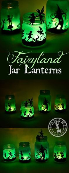 Fairy Mason Jar Lanterns: DIY tutorial on how to make beautiful fairyland luminaries from old Mason jars. A printable design is included! Fairy Lanterns, Mason Jar Lanterns, Mason Jar Flowers, Christmas Lanterns, Diy Flowers, Diy Christmas, Wine Bottle Crafts, Mason Jar Crafts, Mason Jar Diy