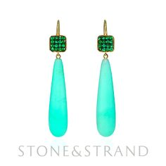 Chrysoprase Drop Earrings by Ray Griffiths, available exclusively at www.stoneandstrand.com