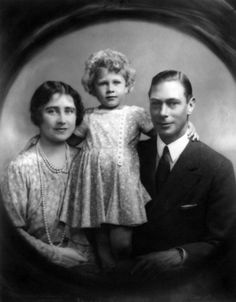 King George VI and Queen Elizabeth (the Queen Mum) with their three year old daughter Princess Elizabeth in 1929. Photo by Marcus Adams.