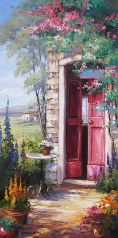 Eine rote Tür, von romantischen Rosen umrankt gibt nebenan den Blick in die Landschaft frei. Ein Geemälde, Öl auf Leinwand. Sehen Sie mehr Bilder von Ute Herrmann unter: www.ute-herrmann-kunstmalerin.de