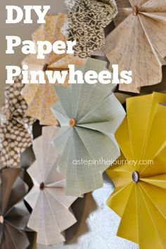 Accordion Pinwheel Paper Flowers....A inexpensive and creative way to create a piece of art for any wall. She includes an easy to follow step by step tutorial!