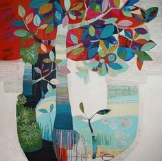 Tiffany Calder Kingston many colors in this cool painting of a tree and plants. collage style art.
