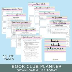 The Ultimate Book Club Planner designed to make your book club lively & connected. Created by a librarian who gets how book clubs work. Inside you will find 11 PDF pages to keep you organized and your club members engaged. With easy planning tips & ice breakers, you will be sure to have enjoyable discussions and gatherings. Instantly download your planner today!