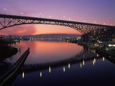 The Aurora Bridge and Lake Union at sunset, Seattle, WA
