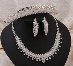 Aliexpress.com: Compre Big sale nupcial tiara colar brincos três peças de casamento noivas conjuntos de jóias vintage conjuntos de jóias de cristal para o casamento 2016 de confiança jóias 101 fornecedores em Etsy Fashion Store