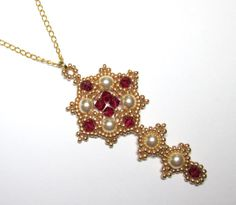 Pearl and ruby pendant tudor necklace by BuzzybeeBeading on Etsy