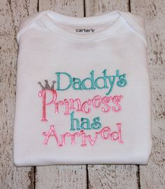 "Newborn Girl's ""Daddy's Princess has Arrived"" Bodysuit,  Perfect for a Coming Home Outfit or Baby Shower Gift on Etsy, $15.00"