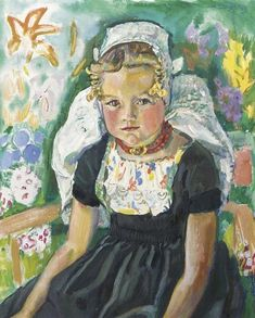 Dutch young girl wearing a Walcheren dress (from Zeeland), by artist Jan Sluijters...