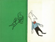 """""""In Henry's Backyard: The Races of Mankind was based on the UPA short Brotherhood of Man. Here, the beautifully graphic endpapers depict a Green Devil taunting Henry with naughty, racist misinformation, 'Don't speak to these people, Henry!' it whispers. 'You won't like them. They're different!'""""  (Caption quoted from Curious Pages, at link)"""