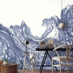 High Tide Wallpaper Mural by Woodchip and Magnolia. Blue and white wallpaper mural for statement rebel walls. Blue And White Wallpaper, Bold Wallpaper, Wallpaper Samples, Coastal Wallpaper, Magnolia Wallpaper, Statement Wall, Design Repeats, Eclectic Design, High Tide